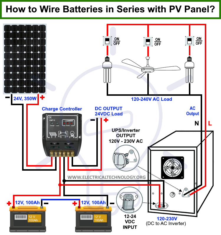 How To Wire Batteries In Series To A Solar Panel And Ups