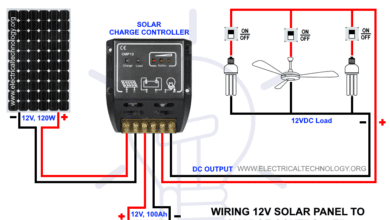 How to Wire Solar Panel to 12V DC System - Wiring PV Panel to Charge Controller, 12V Battery & 12VDC Load