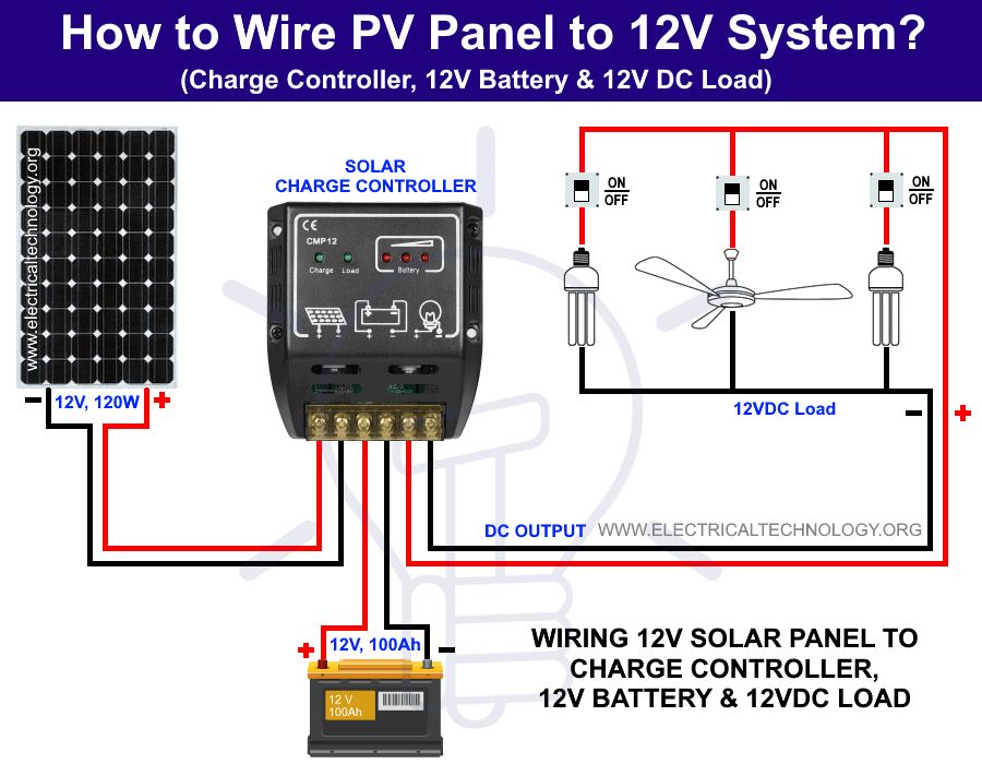 How to Wire Solar Panel to 12V Battery and DC Load? | Batteries 12v Led Wiring Diagram |  | Electrical Technology