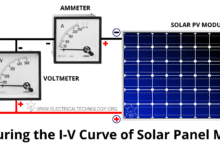 Measuring the Voltage and Current of a Solar Panel Module - I V Curve of PV Panel