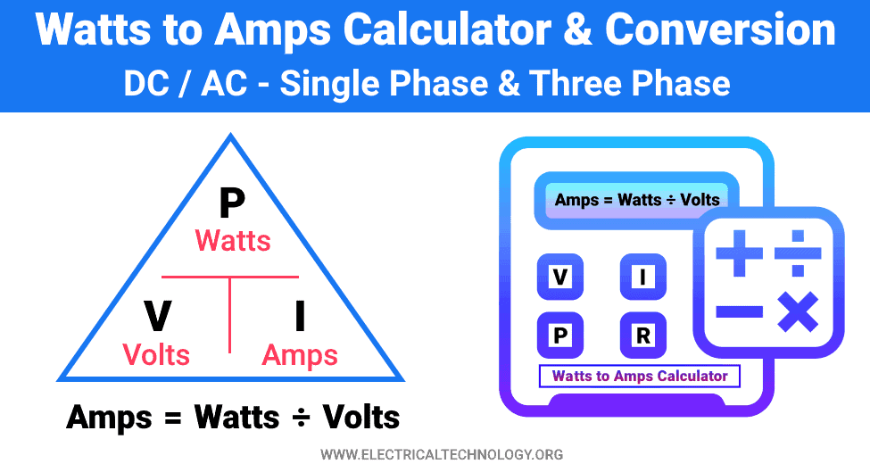 Watts to Amps Calculator and Conversion