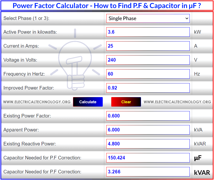 Power Factor Correction Calculator – How to Find P.F Capacitor in µF & kVAR?