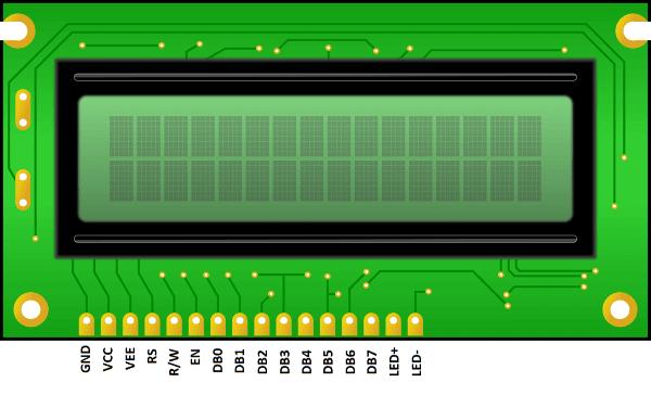 Pin Description of 16×2 LCD module: