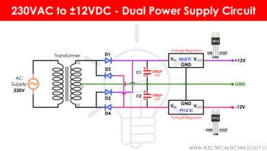 Dual Power Supply Circuit Diagram - 230VAC to ±12VDC