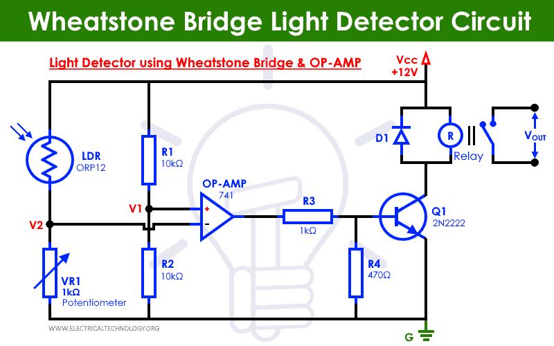 Light Detector Circuit using Wheatstone Bridge and OP-AMP