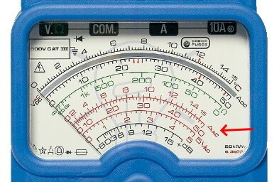 Analog Multimeter AC Current Measurement Scale Reading