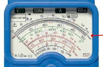 Analog Multimeter DC Current Measurement Scale Reading