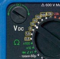 Analog Multimeter DC Voltage Measurement Range Selection