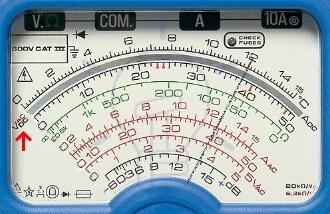 Analog Multimeter DC Voltage Measurement Scale Reading