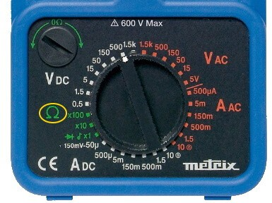 Analog Multimeter Resistance Measurement Mode selection