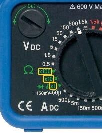 Analog Multimeter Resistance Measurement Range Selection