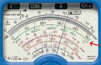Analog Multimeter Resistance Measurement Scale Reading