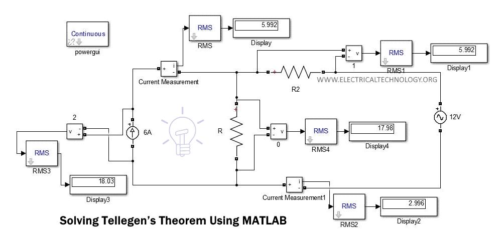 Analyzing & Simulation of Tellegen's Theorem Using MATLAB