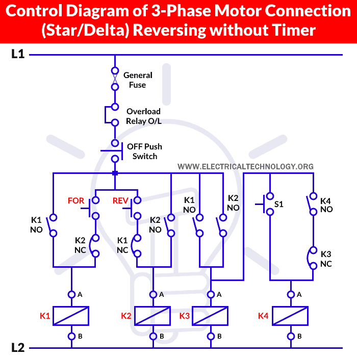 Control Diagram of 3-Phase Motor Connection (Star-Delta) Reversing without Timer