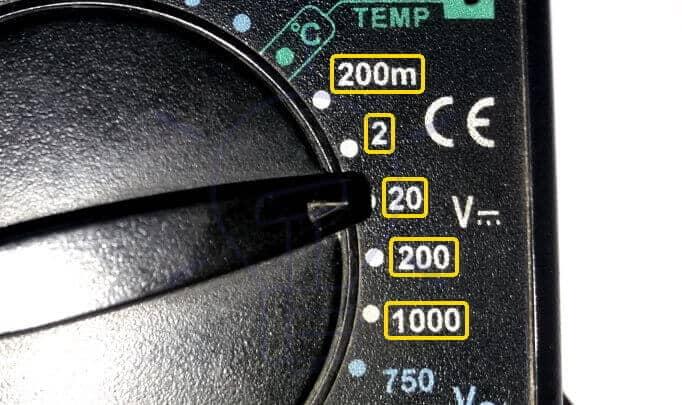DMM DC Voltage Measurement Range Selection