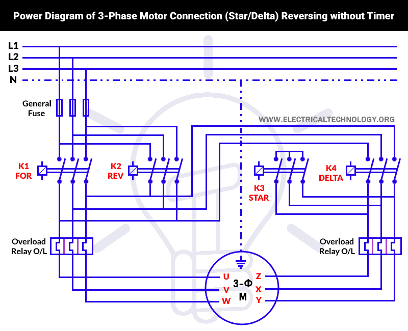 Power Diagram of 3-Phase Motor Connection (Star-Delta) Reversing without Timer