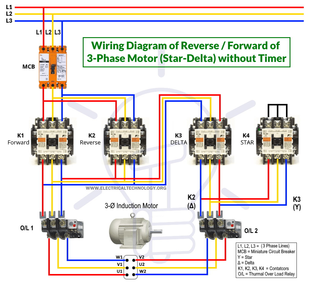 Wiring Diagram of Star Delta Reverse Forward Connection without Timer